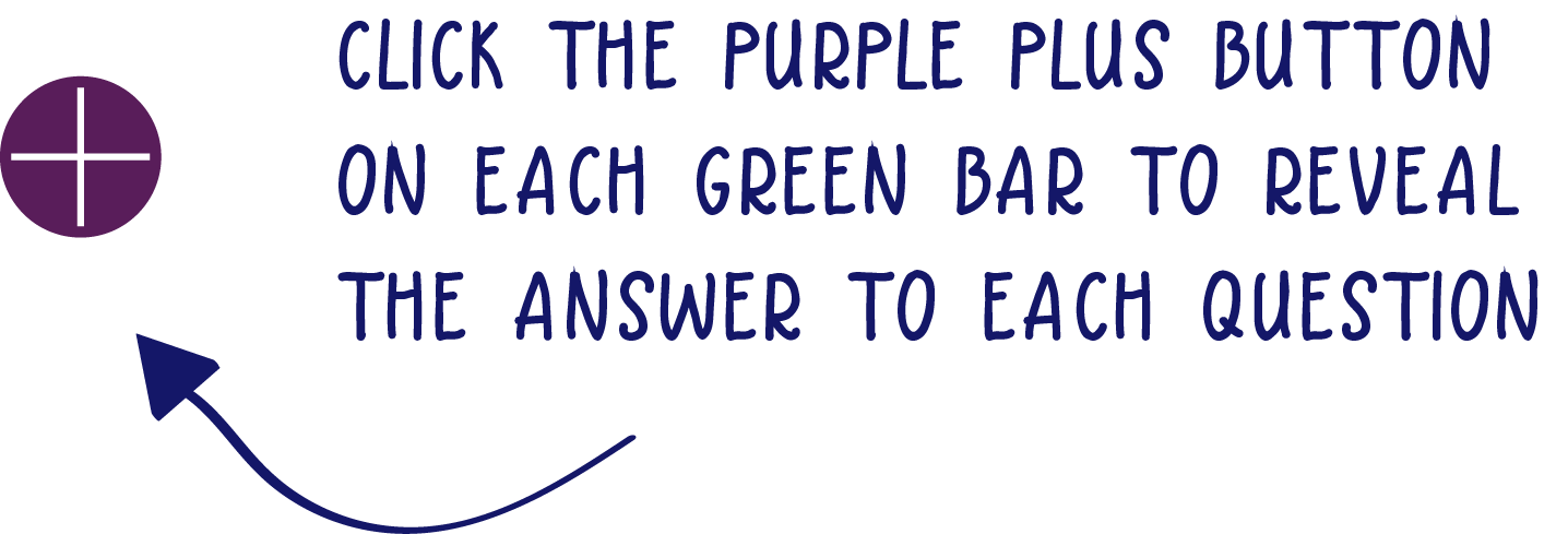Click the purple plus button on each green bar to reveal  the answer to each question